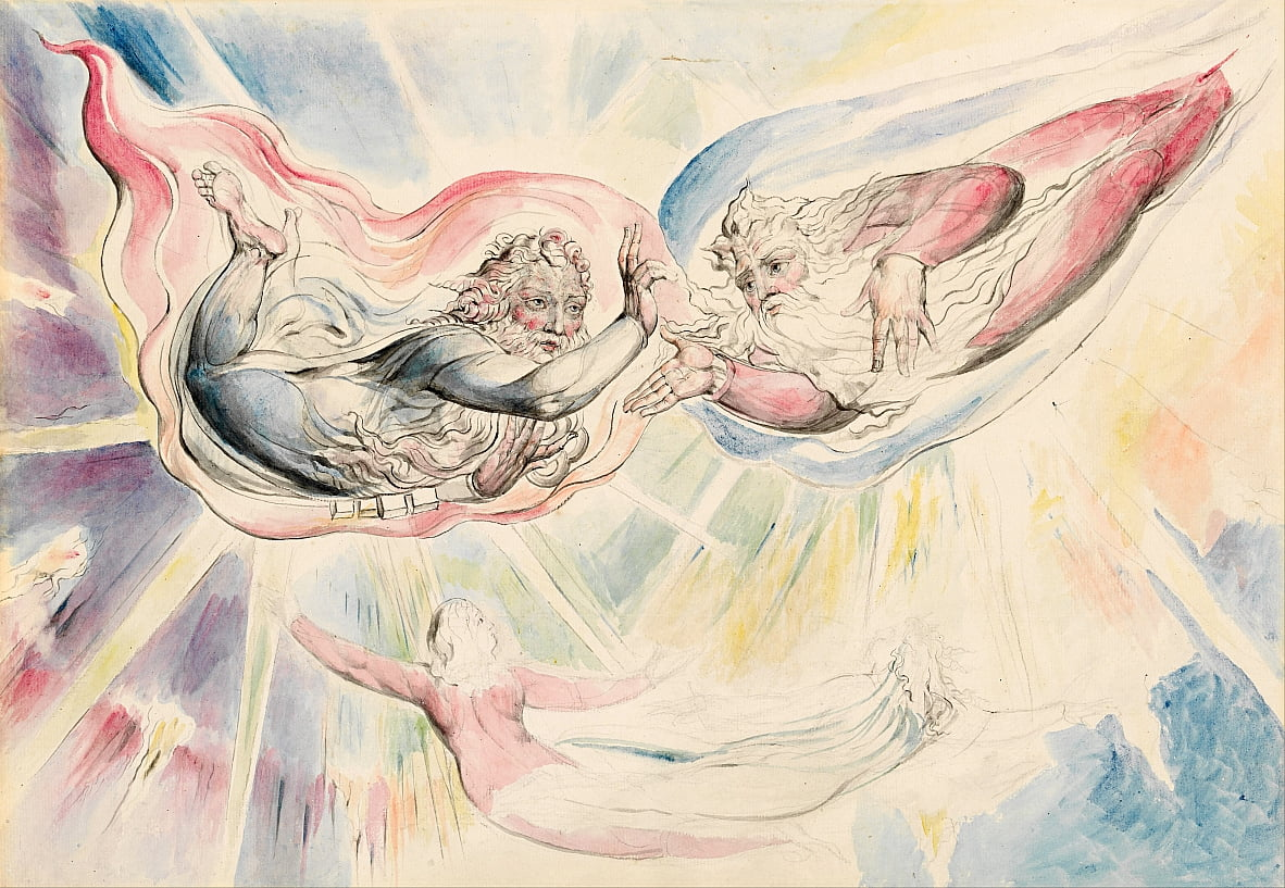 St Peter et St James avec Dante et Beatrice - William Blake