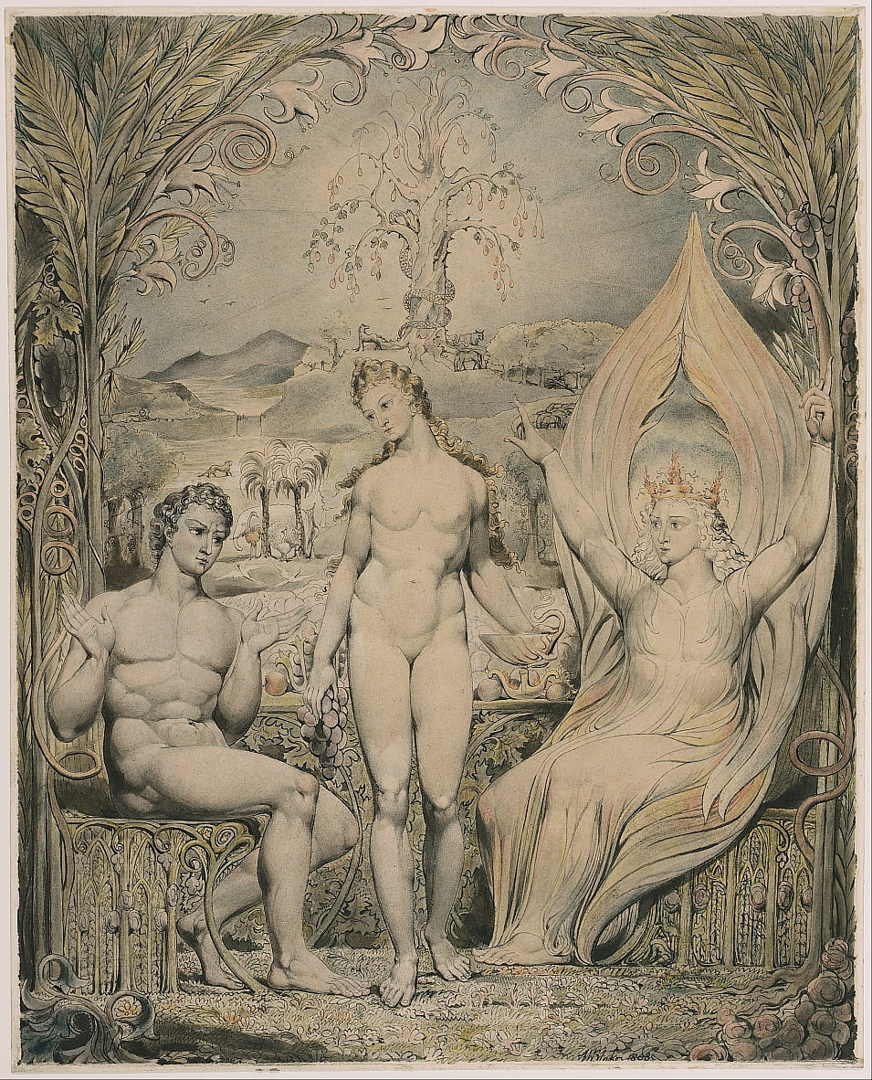LArchange Raphaël avec Adam et Eve (Illustration à Miltons Paradise Lost) - William Blake