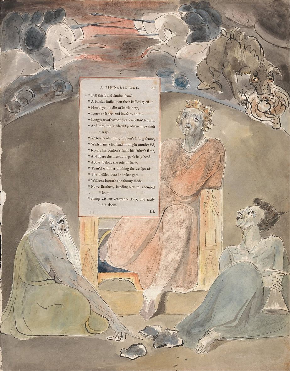 Les poèmes de Thomas Gray, Design 61, The Bard. - William Blake