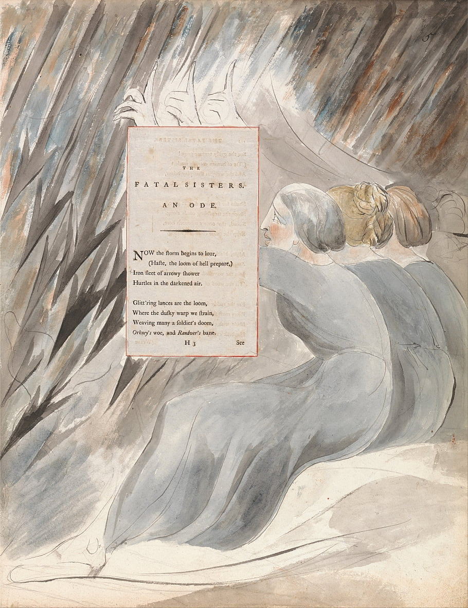 Les poèmes de Thomas Gray, Design 71, The Fatal Sisters. - William Blake