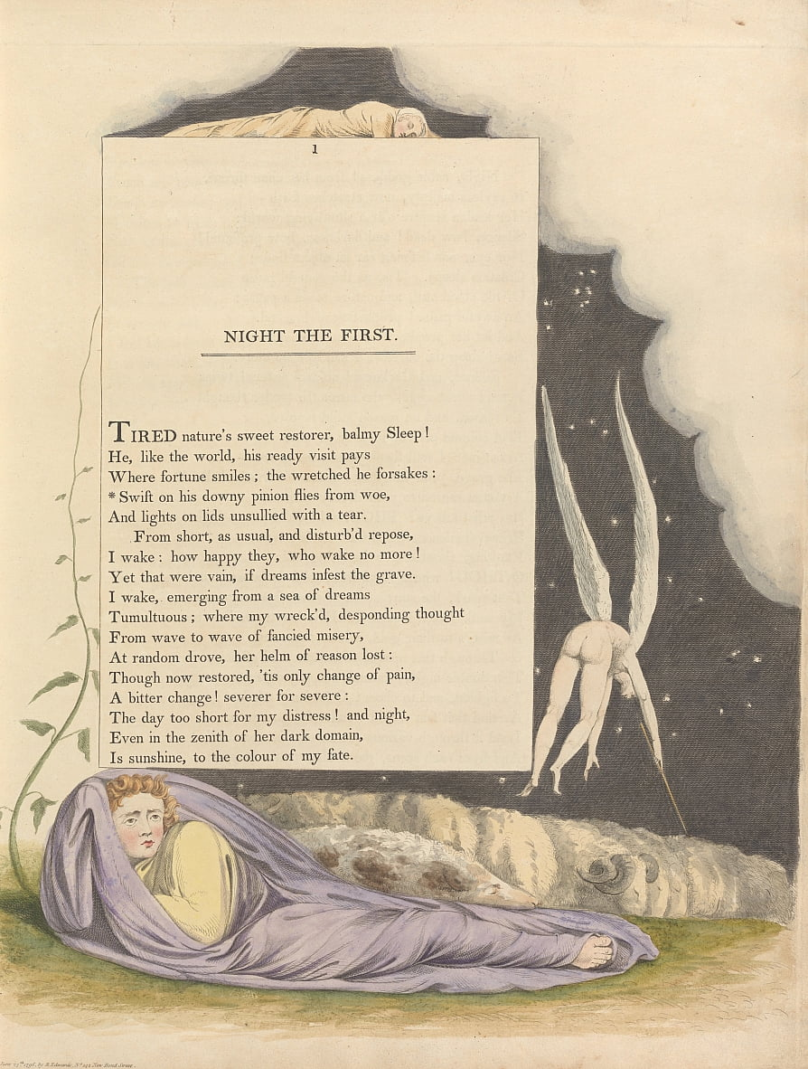 Youngs Night Thoughts, Page 1, Vif sur son mouche Downy mouches de Woe - William Blake