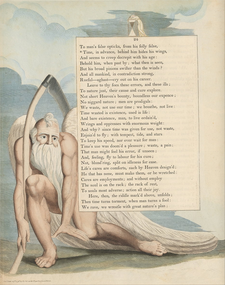 Youngs Night Thoughts, Page 24, Le temps, à lavance, derrière lui cache ses ailes - William Blake