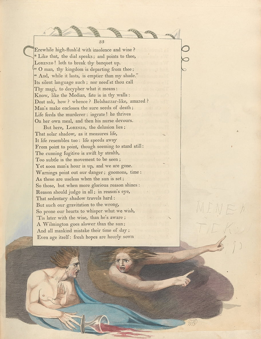 Youngs Night Thoughts, Page 33, Comme ça, le cadran parle; et pointe vers toi - William Blake