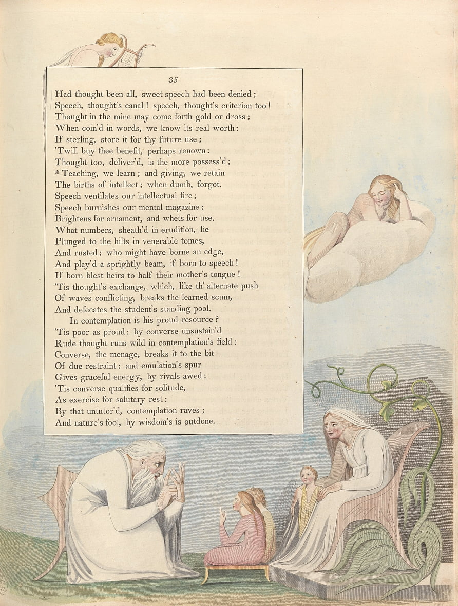 Youngs Night Thoughts, Page 35, Enseignement, nous apprenons; et donnant, nous conservons - William Blake