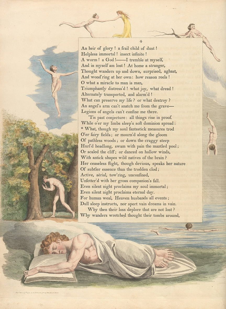 Youngs Night Thoughts, Page 4, Quoi, bien que mon âme fantastick mesure - William Blake