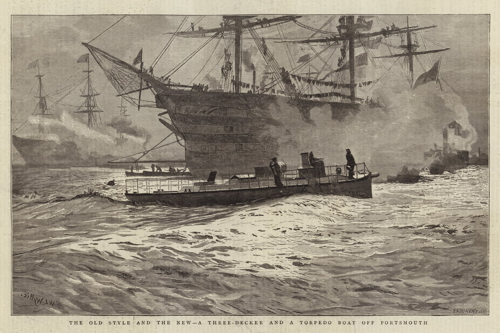 Le Vieux Style et le Nouveau, un Three-Decker et un Torpedo au large de Portsmouth - William Lionel Wyllie