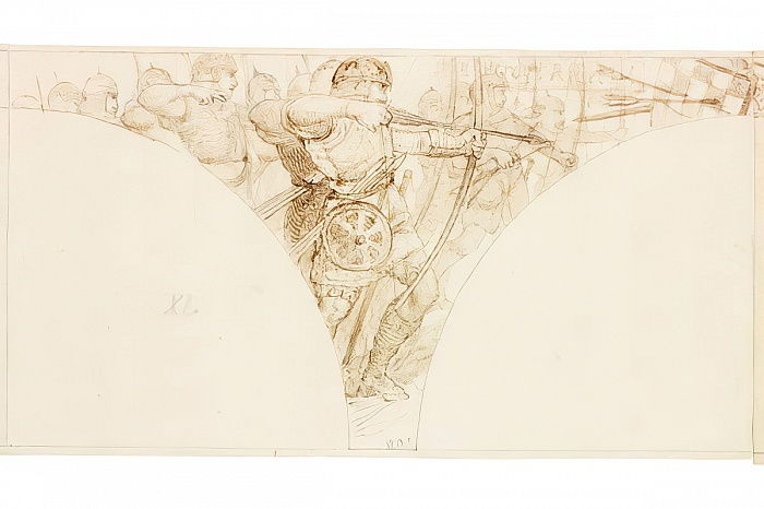Croquis pour la peinture murale à Wallington Hall (bodycolour) - William Bell Scott